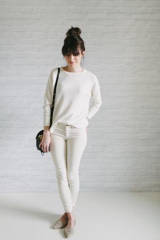 Jersey con cuello circular blanco de Simone Rocha