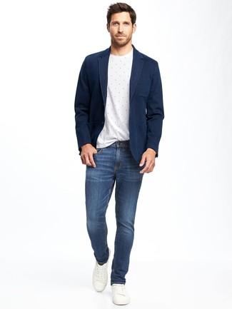 Como Combinar Un Blazer Azul Marino Con Unos Vaqueros Azules 144