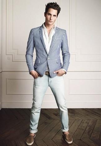 Todos Con tu ropa Look de moda Blazer de Cuadro Vichy en Blanco y Azul, Camisa de Vestir