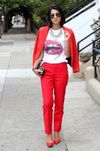 Camiseta cuello Jeans estampada Est 1978 rojo de blanco con en Klein Calvin circular y r5RwPxrn6q