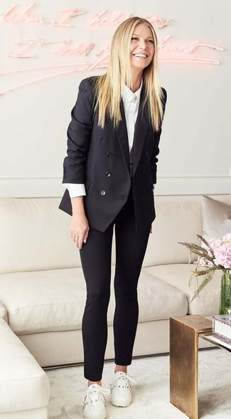 Blazer cruzado negro camisa de vestir blanca pantalones pitillo negros large 27207