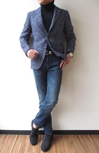 Si buscas un estilo adecuado y a la moda, intenta ponerse un blazer de lana azul marino de Ermenegildo Zegna y unos vaqueros azul marino. Dale un toque de elegancia a tu atuendo con un par de zapatos con doble hebilla de ante negros.