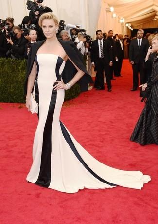 Blazer negro vestido de noche de rayas verticales en blanco y negro cartera sobre de saten blanca large 2265