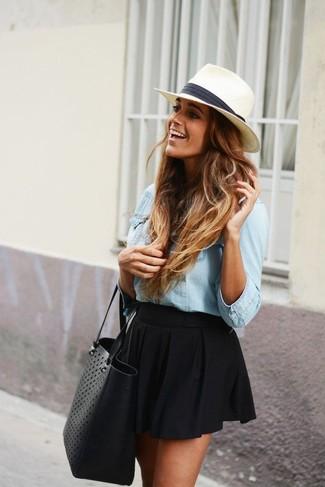 Sombrero de paja en blanco y negro de Gottex