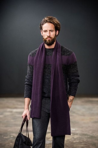 Pantalón de vestir de lana en gris oscuro de Geoffrey Beene