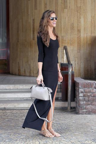 Vestido negro informal largo