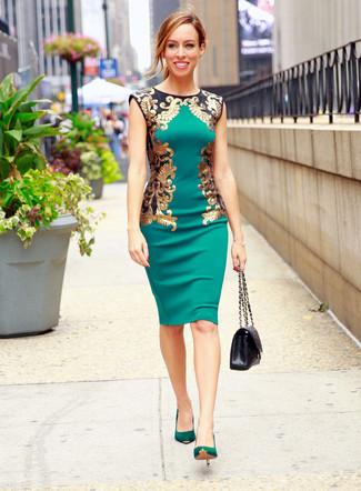 Vestido verde zapatos