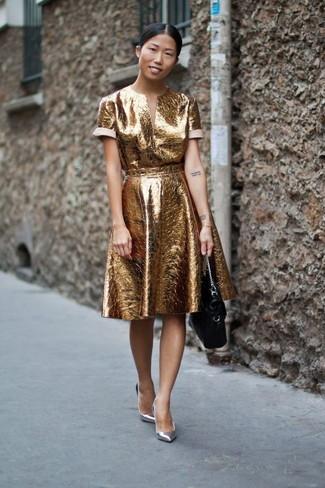 Zapatos de tacón de cuero plateados de Dolce & Gabbana