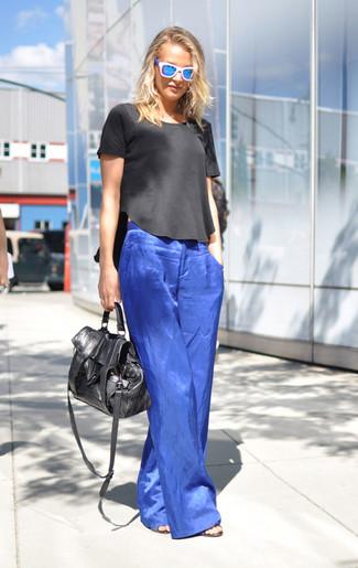 Unos Pantalones Anchos De Vestir Con Una Blusa De Manga Corta En Negro Y Blanco Estilo Elegante 4 Looks Outfits Mujere Lookastic Mexico