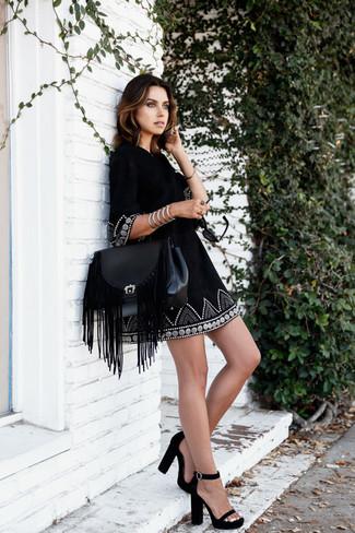 Vestido campesino bordado negro de RD Style