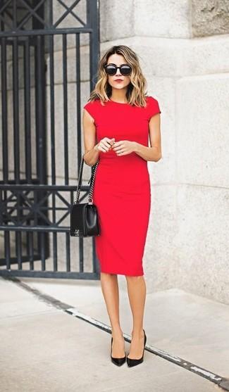 Vestido tubo rojo de Calvin Klein