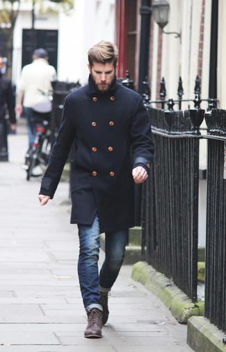 Combinacion abrigo negro hombre