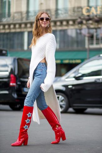 2bdb96755c3 Look de moda  Botas de caña alta de cuero rojas