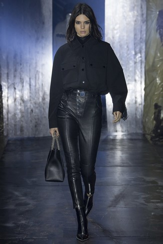 Bolsa tote de cuero negra de Thom Browne