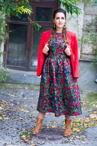 Vestido midi con print de flores en multicolor de MSGM