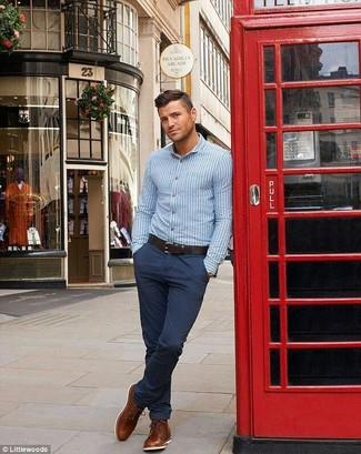 Camisa Azul Cielo Con Pantalon Azul Marino Tienda Online De Zapatos Ropa Y Complementos De Marca