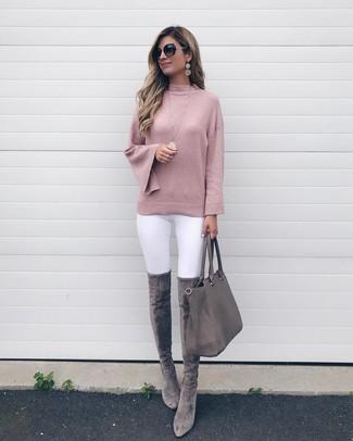 2baf932b9 ... mujeres de 30 años Look de moda  Bolsa tote de cuero gris