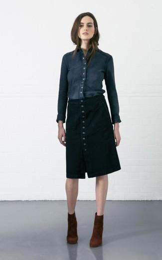 Cómo combinar una falda con botones estilo elegante (5 looks de moda ... e25a0cab9698