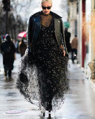 Cómo combinar una chaqueta motera con un vestido de noche (4