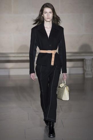Pantalón de campana negro de Versace
