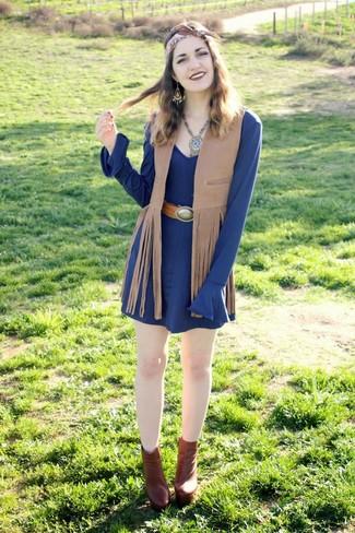 Bufanda de seda marrón de Fendi