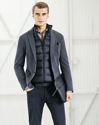 Chaleco de abrigo en gris oscuro de Armani Jeans