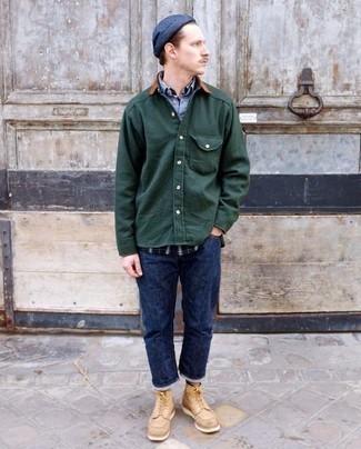Combinar unas botas casual de cuero marrón claro: Elige una chaqueta estilo camisa verde oscuro y unos vaqueros azul marino para cualquier sorpresa que haya en el día. Botas casual de cuero marrón claro son una opción estupenda para complementar tu atuendo.