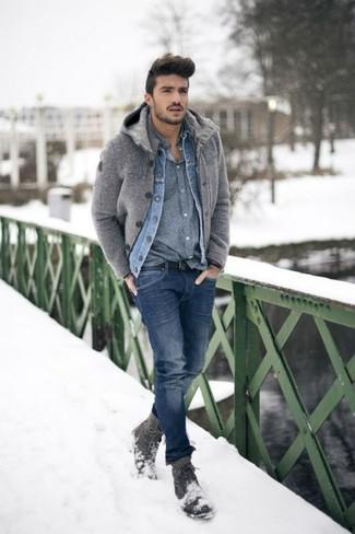 Look de moda: Chaqueta vaquera azul, Cárdigan gris, Camisa
