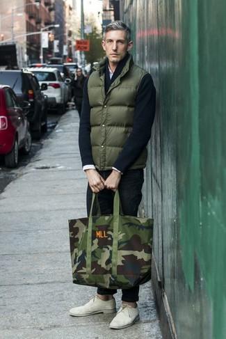 oscuro de de un hombres chaleco verde Combinar para abrigo c534jqRLA
