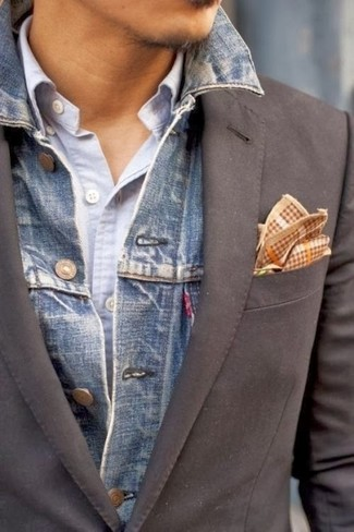 Blazer Una Chaqueta Con Un 6 Combinar Azul Looks Gris Cómo Vaquera g1Swqw