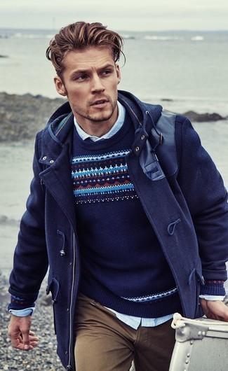 Jersey con cuello circular de grecas alpinos azul marino de Ralph Lauren