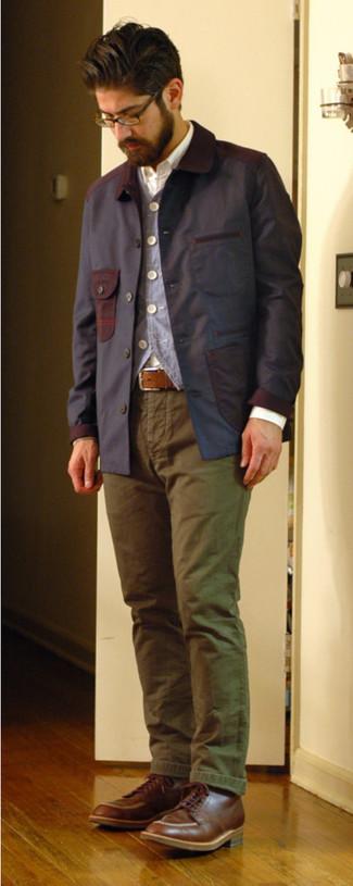 Chaqueta con cuello y botones azul marino de Weatherproof Vintage