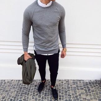 Jersey con cuello circular gris de Bilancioni