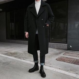 Combinar un jersey de cuello alto de punto blanco: Ponte un jersey de cuello alto de punto blanco y unos vaqueros negros para una apariencia fácil de vestir para todos los días. Con el calzado, sé más clásico y complementa tu atuendo con botines chelsea de cuero negros.