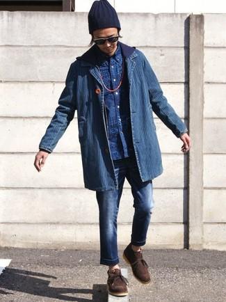 Cómo combinar: vaqueros azul marino, camisa de manga larga estampada azul, sudadera con capucha azul marino, blazer vaquero azul