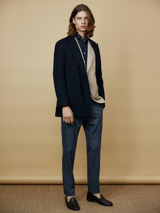 Pantalón de vestir de lana azul marino de Marni