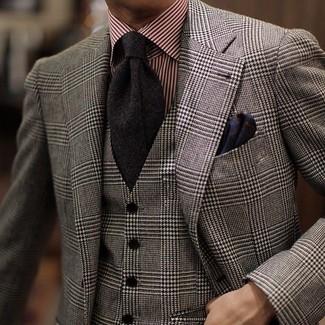 Cómo combinar: corbata negra, camisa de vestir de rayas verticales roja, chaleco de vestir de lana de tartán gris, blazer de lana de tartán gris