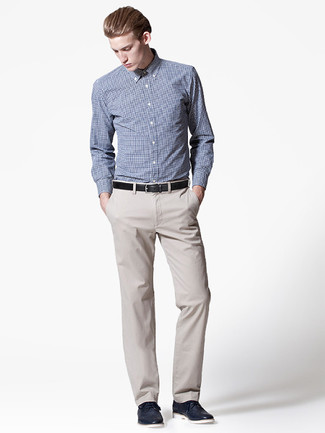 de chino en vestir zapatos Cómo beige camisa combinar pantalón gris tartán de qBaOIF