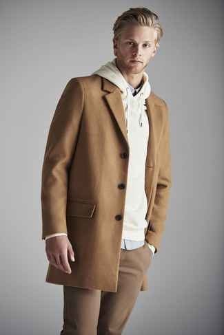 Abrigo largo marrón claro de Lanvin