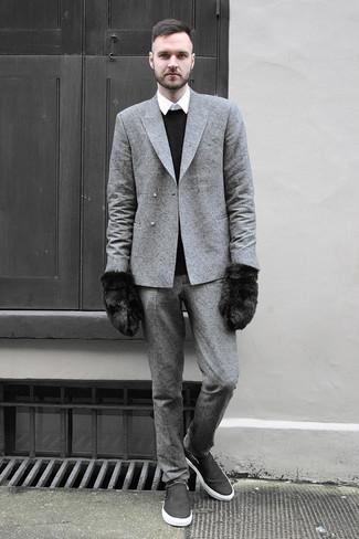 Blazer cruzado de lana gris de Diesel Black Gold