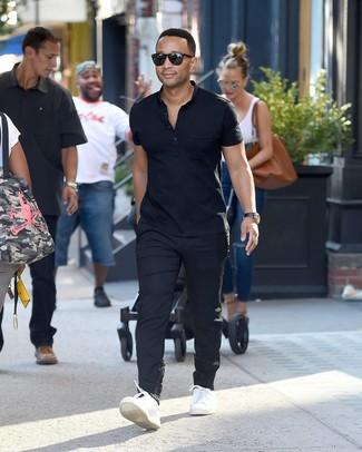 Camisa polo azul marino pantalon chino negro tenis de cuero blancos large 26275