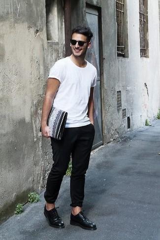 Pantalón Circular Blanca Chino Camiseta Look De Moda Con Cuello Xw1xp07qx