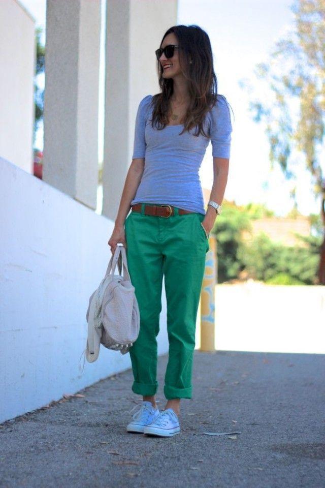 Combinar Pantalon Chino Verde Mujer