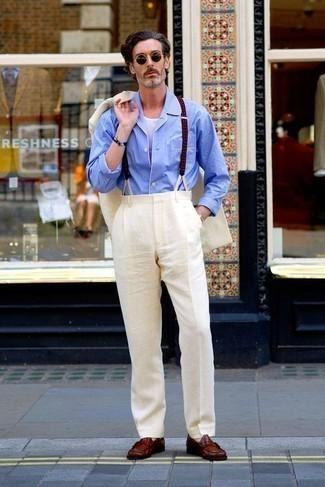 Combinar un mocasín de cuero burdeos: Considera emparejar un traje blanco con una camisa de manga larga celeste para una apariencia clásica y elegante. Mocasín de cuero burdeos son una opción buena para completar este atuendo.