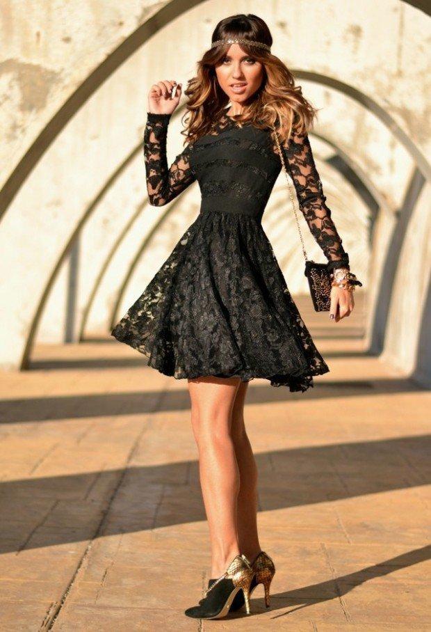 Zapatillas para vestido negro de encaje