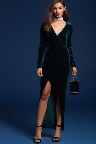 Como combinar vestido verde largo