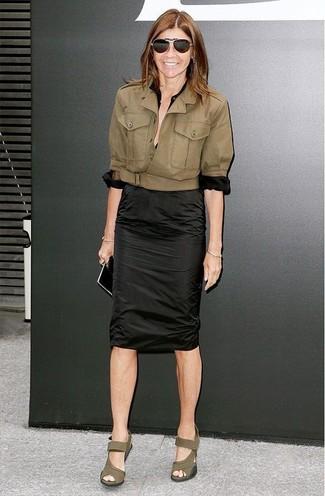 Chaqueta blusa de botones falda lapiz sandalias con cuna gafas de sol large 12327