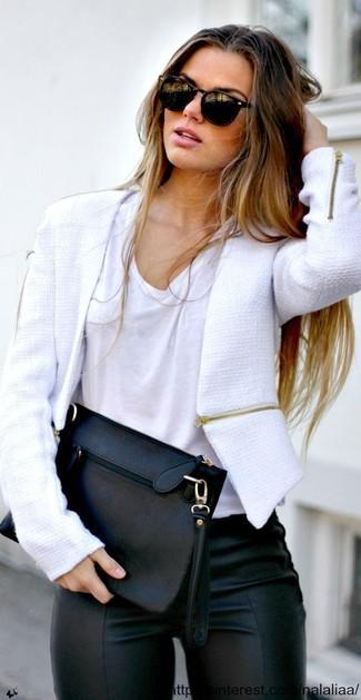 Como combinar una chaqueta blanca y negra