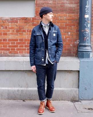 Cómo combinar: chaqueta estilo camisa vaquera azul marino, chaqueta vaquera azul marino, camisa de manga larga en beige, camisa de manga larga gris