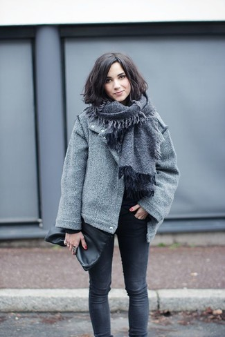 Chaqueta de lana negra